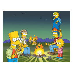 Oriental Furniture - The Simpsons Campfire Wall Art - Hang this lively art print of your favorite cartoon family in your living room and create some family memories of your own. This high quality canvas wall art print is an authentic, authorized limited edition reproduction from the original Simpsons cartoon graphic art rendering, beautifully reproduced in giclee style with professional digital print technology.