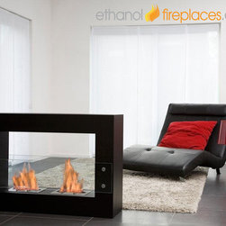 Free Standing Ethanol Fireplaces - Moda Flame Alcoi Contemporary Indoor Outdoor Ethanol Fireplace In Black