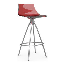 Calligaris - ICE Counter Stool, Chrome Frame, Transparent Red, Non-Swiveling - Chrome Steel Legs