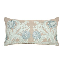 """Villa Home - Pair of Lilith Mint Pillows by Villa Home - Featuring an exquisite beading, sequins, and embroidery design, transforming the 100% linen pillow into a work of art. Ideally sized for along a sofa or layering over larger bed shams/pillows. The refreshing color palate merges beautifully in a traditional or coastal setting. (VH) Feather down inserts. Sold as a pair. 100 % linen. 26"""" wide x 14"""" high"""