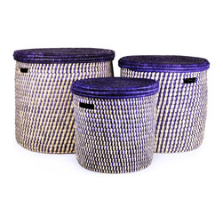 Swahili African Modern - Set of Three Turkana Nesting Hampers - The Turkana people of East Africa dwell in a harsh desert environment in Northwestern Kenya. By hand weaving these doum palm baskets, Turkana women and men supplement their family's income, providing school fees for their children and food for their families.