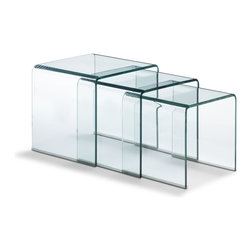 Zuo - Bent Glass Nesting Table - The Bent Glass Nesting Tables are sleek and irresistible. With a simple, versatile shape in a set of three, the Bent Glass Nesting Tables are solidly constructed of transparent tempered glass. Impressively strong and heavy, these tables do well indoors or outdoors, in any contemporary or transitional decor. Each table comes with a discrete rubber bumper to protect floors. Nest them together or use separately as needed. Choose the Bent Glass Nesting Tables for their classic form and unparalleled function, and enjoy for many years to come.
