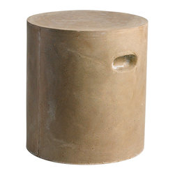 Kathy Kuo Home - Modern Industrial Loft Round Tan Clay Outdoor Unglazed Garden Stool - Earthy modern is the name of the game when you're seated on one of these clay stools.  Reminiscent of 1970's Italian classics, but without all the plastic artifice, this clay stool adds serious style to contemporary spaces both indoors and out.