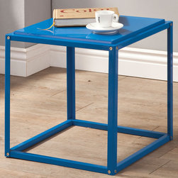 Coaster - Accent Table, Blue - Whether you just need table space or you need a storage unit in your room, these colorful accent tables are ready to accommodate. These sleek and simply accent tables are available in five bold colors and can easily connect together to make stackable storage units. Create a combination that fits your needs and wants. Each cube table features a sturdy metal base and a slightly raised table top to securely hold each table together when stacking.
