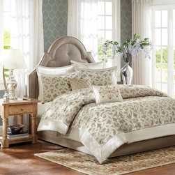Madison Park - Madison Park Signature Stokes 8-Piece Comforter Set - Create a luxurious getaway in your space with the Madison Park Signature Stokes Collection. This unique collection features an intricate ironwork design with an opulent chenille fabrication that not only looks elegant,but feels that way as well.