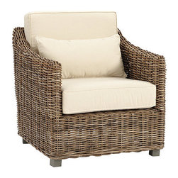 Ballard Designs - Capri Chair - For additional chair cushion fabrics click here.. Finished in rich, driftwood gray. Includes extra thick, indoor/outdoor box cushions and lumbar pillows covered in easy-care, 100% Sunbrella Fabric in Sand. Casual, yet sophisticated. Deeply comfortable, yet well proportioned. Capri re-imagines what rattan furniture can be. Our Capri Chair is hand crafted of plantation-grown teak to be naturally strong and insect-resistant, and then hand-wrapped in a chunky weave of thick natural rattan. Enjoy indoors or in covered outdoor spaces.Capri Chair features: . . .