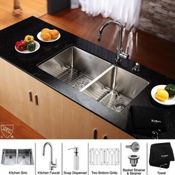 Kraus - 33 in. 50/50 Double Bowl Kitchen Sink and Faucet with Soap Dispenser - Add an elegant touch to your kitchen with unique Kraus kitchen combo
