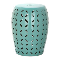 Safavieh - Murcia Garden Stool - A contemporary update of the classic lattice motif adorns the aqua ceramicMurciagarden stool. Inspired by the Asian prosperity coin, the pierced design brings serenity to indoor and outdoor settings.