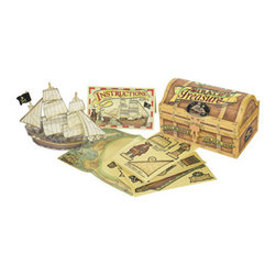 """Kids Pirate's Treasure - The kids pirate treasure measures 4 x 6.25 x 3.75"""". Pirate lore has never gone out of style, not in Hollywood... not anywhere else. Inside this pirate's chest are all the necessary components for adventure on the high seas: build and rig a wooden pirate's galleon - all the elements are there, even a map to fabulous treasures abounding..."""