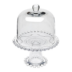 """Godinger Silver - Pearls Bead Cake Plate with Dome - Rise to the occasion with a cake stand that turns even store bought pastries or fruit into something truly impressive! An indispensable accessory for entertaining, this glass cake stand makes an exquisite presentation of cakes, tarts, pies and more. Dome cover keeps your treats oven fresh and soft faceted cuts create a classic yet contemporary effect.    * Dimensions: L: 8.2"""" W: 8.2"""" H: 10.6""""  Height of Dome: 6.5"""""""