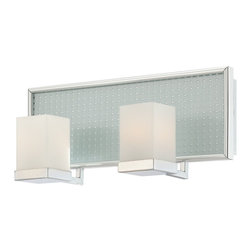 Polished Chrome And Opal Etched Glass 2 Light Bath Wall With Led Nightlight - Condition: New - in box