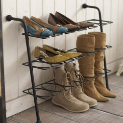 """Eiffel - 3-Tier Black Metal Shoe Rack for Various Types of Shoes, 27"""" Wide - This beautiful shoe rack unit is made from heavy duty steel."""
