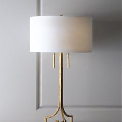 "Regina-Andrew Design - Regina-Andrew Design ""Le Chic"" Golden Table Lamp - Chic, indeed, with its crisp lines, this lamp proves the power of simplicity. From Regina-Andrew Design. Metal base with a burnished golden finish. Linen shade. Includes 4.5"" harp and rectangular finial. Two pull-chain sockets; uses two 100-watt bu..."