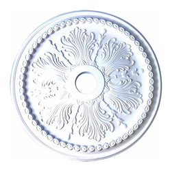 "Renovators Supply - Ceiling Medallions Urethane foam, Ceiling Medallion 27 1/2"" Dia - Ceiling Medallions: Made of virtually indestructible  high-density  urethane our medallions are cast from  steel molds  making them the highest quality on the market. Steel molds provide a higher quality result for  pattern consistency, design clarity & overall strength & durability.  Lightweight they are  easily installed  with no special skills. Unlike plaster or wood urethane is resistant to  cracking, warping or peeling.   Factory-primed  these medallions are ready for finishing. NOTE: Images medallions with a center opening may not be represented to scale, appearing larger or smaller than they actually are.  Measures 27.5 inch in diameter with 4 in dia. center hole."