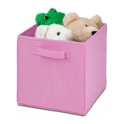 Honey Can Do - Non-Woven Foldable Storage Cube, Pink - Durable polyester construction. Designed to hold Books, Toys, Games, Magazines, CDs, DVDs, almost anything. Contemporary design . Convenient and attractive storage. Folds flat when not in use. Stores away quick and easy. 10.6 in. L x 10.6 in. W x 11.4 in. H (1.3 lbs.)Honey-Can-Do SFT-01762 Folding Storage Cube, Pink. Designed to hold books, toys, games, and anything else you want to stash away. The durable polyester construction, reinforced seams, and carrying handles on this storage cube will stand up to it all! The contemporary design provides convenient and attractive storage space for any decor. When not in use, the cube can fold flat for easy storing. Great for car trunks, kid's rooms, closets, shelving units, and more!