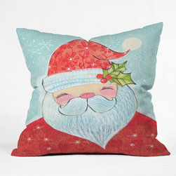 DENY Designs - DENY Designs Cori Dantini Sweet Santa Throw Pillow - Wanna transform a serious room into a fun, inviting space? Looking to complete a room full of solids with a unique print? Need to add a pop of color to your dull, lackluster space? Accomplish all of the above with one simple, yet powerful home accessory we like to call the DENY Throw Pillow! Available in four sizes, our throw pillow is made from a medium weight woven polyester with a hidden zipper and removable bun insert.