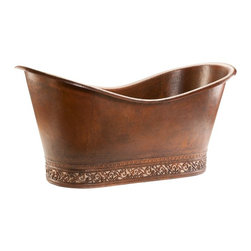 Premier Copper Products LLC - Premier Copper Products 67 in. Hammered Copper Double Slipper Bathtub with Scrol - Shop for Tubs from Hayneedle.com! The supremely luxurious Premier Copper Products 67 in. Hammered Copper Double Slipper Bathtub with Scroll Base and Nickel Inlay will transform your bathroom in elegant style. Expertly handcrafted of hammered copper this double slipper tub is accented by an ornately scrolled base with nickel inlay and a rich oil-rubbed bronze finish.100% recyclable this surface-mount tub is fitted for a 2-inch centered drain and backed by a limited lifetime warranty. About Premier Copper ProductsBased in Phoenix Ariz. Premier Copper Products imports individually hand-crafted artisan copper products from Mexico. Competitively priced and environmentally sound this unique line of sinks and accessories includes a full range of drain selections and specially made silicone caulk that s color-matched and nonreactive and every product meets rigorous quality-control standards. Tips to Take Before Taking it Easy in Your Clawfoot or Freestanding Tub We know you're excited to transform your bathroom from dull to indulgent with the addition of a clawfoot tub or a freestanding tub but please consider this important information before taking on your tub. We recommend having a professional plumber install your tub. Make sure your floor can support the weight of the tub whether it's empty or full. Measure the doorway you'll take the tub through to get inside your house and measure your stairwell and your bathroom doorway too to make sure the tub will fit. Remember that some tub feet are not removable. Get prepared with the right parts. You'll need some essentials to enjoy a proper clawfoot or freestanding tub experience. Keep in mind that parts such as the faucet drain supply lines hand-held shower head shower curtain and shut-off valves are sold separately While you can use universal parts for some tubs you'll find that others require parts that are the same brand as the tub. All of your necessary tub parts are available for purchase here at ClawfootTubs.com. Have your plumber ensure that your tub is level. To prevent the tub from moving and to protect your floor try placing coasters underneath the tub feet. After the tub is installed see that your plumber turns the water on and makes sure everything works and drains properly. Now don't forget the bubbles!