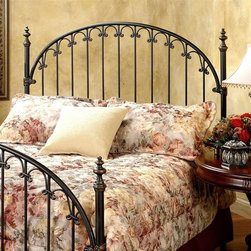 Hillsdale Furniture - Kirkwell Arched Spindle Headboard with Corner - Choose Bed Size: KingDecorative castings add an element of charm to this traditional arched metal headboard with straight spindle accents. The headboard is enhanced by corner posts and a brushed bronze tone finish that adds to the piece's classic look. It is available in your choice of size options. For residential use. Includes headboard and frame rails. Brushed Bronze finish. Copper base coat is antiqued by a rich deep Brown top coat. Fully welded construction featuring heavy gauge round tubing. Solid wire. Aluminum castings. Full/queen: 62.5 in. W x 59 in. H. King: 78.25 in. W x 59 in. HA classic style features a traditional arch design with straight spindles that are connected by decorative solid castings. Fully welded construction featuring heavy gauge round tubing, solid wire, and aluminum castings.