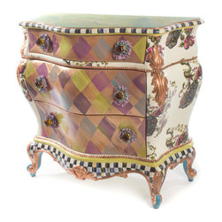 Peacock Large Chest | MacKenzie-Childs - The Peacock Large Chest features our fabulous Peacock design, copper leaf, Courtly Stripes, and a speckled finish inside the drawers. Amber glass knobs with two layers of ruched ribbon and brass filigree are like jewelry—the perfect accessory. The front features an irresistible color-dragged harlequin pattern with asparagus green, blues, plums, and chocolate tones, and is topped with green Cheltenham faux marbling. Hand decorated in Aurora, inside and out.