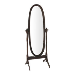 """ACMACM02288 - Cherry Finish Wood Cheval Mirror - Cherry finish wood cheval mirror free standing floor mirror measuring 18.5"""" x 56.5"""" H. Some assembly required."""