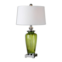Uttermost - Amedeo Green Glass Table Lamp - Green ribbed glass accented with polished nickel plated details. The slightly tapered, round hardback shade is a white linen fabric.