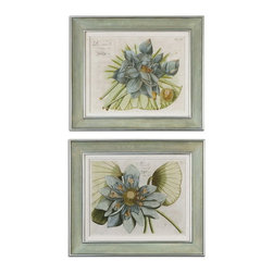 Uttermost - Uttermost 41325  Blue Lotus Flower Art Set/2 - Inner portion of frames have very soft, muted colors of green, gray, pink & lavender. outer and inner lips have a silver leaf finish with gray glaze. frames also have an off-white linen liner.