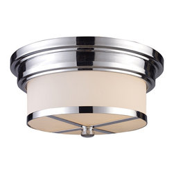 Elk Lighting - Elk Lighting 15015/2 Flush Mount 2-Light in Polished Chrome - 2-Light in Polished Chrome belongs to Flushmount Collection by The Flush Mounts Collection Exhibits The Same Beautiful Detailing As A Chandelier, But In A Smaller Size Suitable For Lower Ceilings And Smaller Spaces. Each Item Has An Attractive Banding On Top With White Satin Glass And A Decorative Finial. Choose From Various Styles And Finishes To Match Your decor. Flush Mount (1)