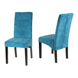 Cortesi Home - Monty Dining Chair (Set of 2) - The Monty dining chair offers an understated elegance with its calm blue color. This Parson dining chair is upholstered in a blue microfiber and also features cappuccino finish legs. It offers a full size seat with a contemporary square tufted back. Solid wood frame and legs are used for added strength and durability. Firm padded seating offers sturdiness with dependable comfort.