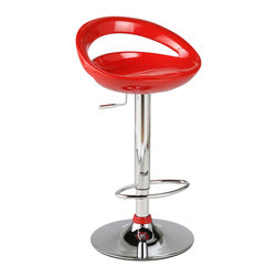 Eurostyle - Agnes Bar/Counter Stool-Red/Chrm - Molded ABS plastic seat