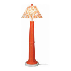 Patio Living Concepts - Patio Living Concepts Nantucket 60 Inch Floor Lamp w/ Daiquiri Base & Orange Swi - 60 Inch Floor Lamp w/ Daiquiri Base & Orange Swirl Shade belongs to Nantucket Collection by Patio Living Concepts Distressed orange daiquiri resin lamp base highlights this stylish outdoor lamp. Two level dimming switch and 12' weatherproof cord and plug. Unbreakable polycarbonate waterproof bulb enclosure allows the use of a standard 100 watt light bulb. Lamp (1)