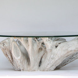 "Michael Fleming - Designs Adrift - Driftwood coffee table - 4' Driftwood coffee table. Custom glass top. 3/4"" thickness, polished edge."