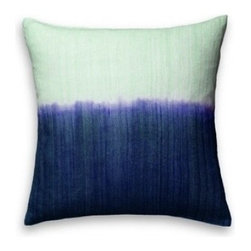 5 Surry Lane - Indigo Blue Ombre Dip Dye Silk Pillow - Saturated colors are juxtaposed with creamy ivory in this ombre-hued pillow. The striations of color from the dyeing process give it a hand-painted feel. In your formal living room, it will add a spark of jewel-toned color.