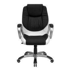 Flash Furniture - Flash Furniture Office Chairs Leather Executive Swivels X-GG-M7120XC-HC - This plush leather chair has a very appealing look to show off your modern taste in computer seating. With its eye-catching black and white leather upholstery, titanium nylon base and loop arms it is sure to please. Chair features generous padding on the seat, back and arms to provide comfort throughout the day. The titanium nylon base with black caps prevents feet from slipping. For your next office chair, look no further than this extremely comfortable and stylish leather office chair! [CH-CX0217M-GG]