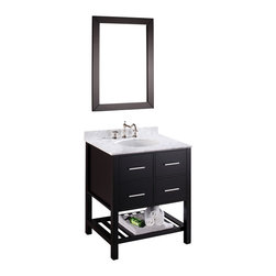 Bosconi - SB-250-1 Vanity Set - White Carrara marble tops this exquisite bathroom essential. Crafted from birch wood and given a black finish, this stylish single-sink vanity provides ample storage space in via four pullout drawers and lower storage rack. The silver-tone hardware provides a complimentary tone, and its coordinating mirror completes the look.