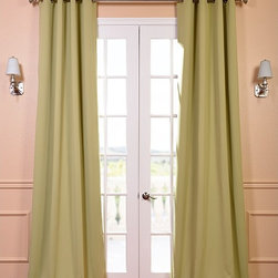 EFF - Grommet Blackout Thermal Lichen Curtain Panels (Set of 2) - Keep the glow of the streetlights out at night by using this blackout curtain panel set,which comes in in a lovely shade of green. These stylish curtains provide optimal thermal insulation as well,so they're perfect for year-round use.