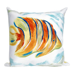 "Trans-Ocean - Angel Fish Orange Pillow - 20"" SQ - The highly detailed painterly effect is achieved by Liora Mannes patented Lamontage process which combines hand crafted art with cutting edge technology.These pillows are made with 100% polyester microfiber for an extra soft hand, and a 100% Polyester Insert.Liora Manne's pillows are suitable for Indoors or Outdoors, are antimicrobial, have a removable cover with a zipper closure for easy-care, and are handwashable."