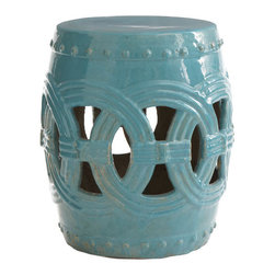 Interlocking Rings Stool - Few places are more serene and inspiring than a classic Chinese garden. This ceramic stool, with its barrel shape, can bring that same sense of stillness to your room or garden. The Cerulean interlocking rings design is inspired from linked coins, known in many cultures to bring good luck. Because of the reactive glaze, each will vary slightly in color.