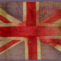 Vivienne Westwood Union Jack Wall Panel - Vivienne Westwood's wildly popular Union Jack wallcovering. A true British icon, based on an actual antique ship's flag and given a weathered and sun-bleached look. Panel is divided into sections which are hung like regular wallpaper.