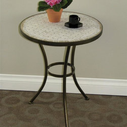 4D Concepts - Travertine Round Top End Table - Perfect for any room of the house. Can be moved wherever you need an additional table. Clean with a dry non abrasive cloth. Tapered legs flair out at the bottom to give the table a unique and durable look. Rich powder coated antique Tuscany finish which gives it a distinct look. Crafted round Steel and Travertine end table. Constructed of Metal and Travertine. Assembly required. 19.7 in. W x 19.7 in. D x 22 in. H (19 lbs.)