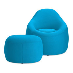 OMO Modern Memory Foam Furniture Set, Light Blue - OMO Modern combines the comfort of memory foam with innovative design to deliver unique modern furniture that is sure to inspire conversation.  The chair and ottoman provides full-body support with foam and fabric that conforms to your body for a true relaxation experience. Set includes both the memory foam chair and a matching ottoman.