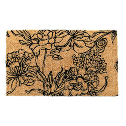 Entryways - Ink Bouquet Handwoven Coconut Fiber Doormat - Designed by an artist, this distinctive mat is a work of art that will add a welcoming touch to any home. It is from Entryways' handmade collection and meets the industry's highest standards. This decorative mat is handsomely hand woven and hand stenciled.