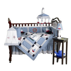 Sweet Jojo Designs - Come Sail Away 9 Piece Crib Bedding Set - The Come Sail Away Crib Bedding Set is just one of the crib bedding sets we offer from Sweet Jojo Designs. The 9-Piece baby bedding set includes a crib blanket, fitted crib sheet, crib bumper pads, crib skirt (dust ruffle), diaper stacker, toy bag, decorative pillow, and two window valances. This baby boy crib bedding set will make any boy's room feel special!