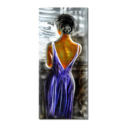 Pure Art - Lost In Thought Figurative Art - Modest, yet alluring, this figurative artwork of a woman back, gains evocative appeal through the low dip of her dress and the slope of her shoulders and arms. The deep purple of her dress presents a calming influence among the brightness of silver highlights in the backdrop. Her hair is done up neatly, but her pose and dress add a suggestive air.Made with top grade aluminum material and handcrafted with the use of special colors, it is a very appealing piece that sticks out with its genuine glow. Easy to hang and clean.