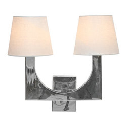 Worlds Away Fritz 2 arm Wall Sconce, Stainless Steel - Worlds Away Fritz Stainless Steel 2 arm Sconce