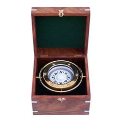 """Handcrafted Model Ships - Brass Gimble Compass 6"""" - Brass Gimble Compass - The Hampton Nautical 6"""" Boxed Compass is a beautiful reproduction of an antique brass British compass in a handsome brass-inlaid hardwood box. The compass is fully gimbaled."""