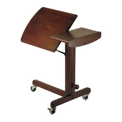 "Winsome Wood - Winsome Wood Lap Top Adjustable Cart with Antique Walnut Finish X-32449 - Great design. This cart gives you work and play where you go in the house. Adjustable height & work-surface angle. Moves easily on 3 wheels. Beautiful walnut finish on solid wood construction.  Table extension height 24.45"" to 36"".  Assembly Required."