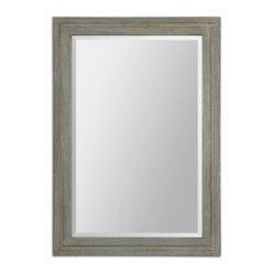 Uttermost - Brienza Grey Mirror - Optical illusion. Use this traditionally styled mirror with a generous bevel to make your room appear larger. It makes a great first impression in your entryway, but looks equally at home in the master bath, bedroom or living room above a console.