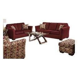"Acme - 2 PC Simmons Jayda Collection Malibu Wine Fabric Upholstered Sofa and Love Seat - 2-Piece Simmons Jayda collection malibu wine fabric upholstered sofa and love seat set with walt design arms. This set is made in the USA by Simmons features a fabric upholstery with walt design arms. Sofa measures 84"" x 36"" x 38"". Love seat measures 62"" x 36"" x 38"" H. Optional chair and ottoman also available separately at additional cost, chair measures 41"" x 36"" x 38"" H. Ottoman measures 35"" x 24"" x 19"" H. Some assembly may be required."