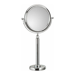 "WS Bath Collections - Doppiolo Free Standing Telescopic Magnifying Cosmetic Mirror - Features: -Mirror Pure collection. -Free standing magnifying cosmetic mirror. -Available in 3X or 6X magnifications. -Chrome-plated ABS frame. -Chrome-plated brass structure. -No distortions. -Made in Italy. Specifications: -Manufacture provides one year warranty. -Overall dimensions: 28.4"" H x 9.1"" W."