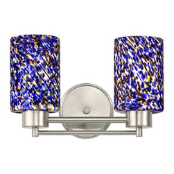 Design Classics Lighting - Modern Bathroom Light with Blue Glass in Satin Nickel Finish - 702-09 GL1009C - Contemporary / modern satin nickel 2-light bathroom light. Takes (2) 100-watt incandescent A19 bulb(s). Bulb(s) sold separately. UL listed. Damp location rated.